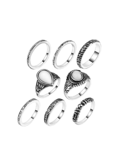 Retro style White Opal stones Silver Plated Alloy Ring
