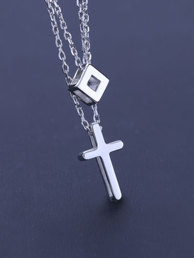 Double Layer Chain Cross Necklace