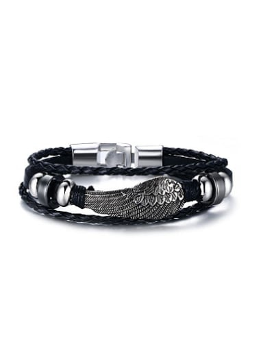 High Quality Feather Shaped Artificial Leather Bracelet