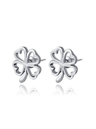 Personality White Gold Plated Clover Shaped Stud Earrings