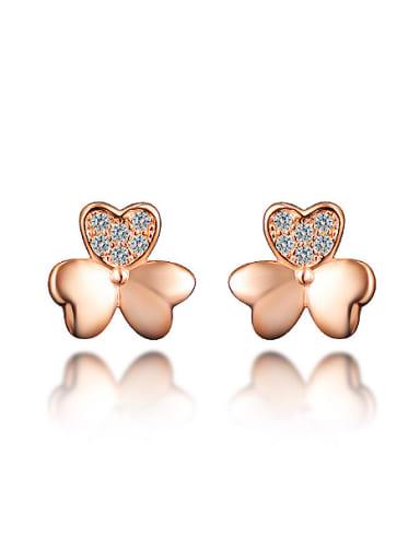 Tiny 925 Sterling Silver Shiny Zirconias Flowery Stud Earrings