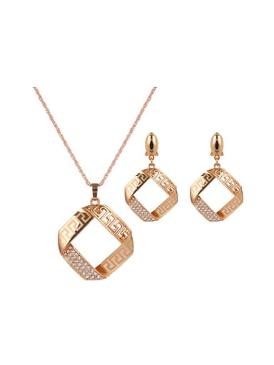 2018 Alloy Imitation-gold Plated Fashion Hollow Square Two Pieces Jewelry Set