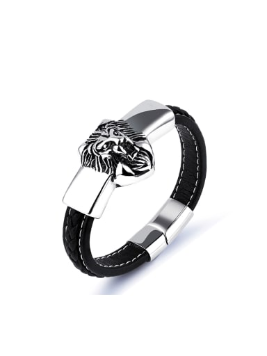 Punk Personalized Lion-head Artificial Leather Bracelet