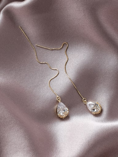 Alloy With Gold Plated Simplistic Water Drop Threader Earrings