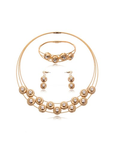 Alloy Rose Gold Plated Fashion Rhinestones Round Three Pieces Jewelry Set