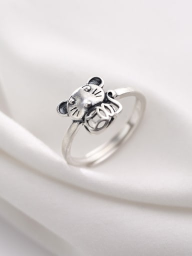 925 Sterling Silver With Silver Plated Cute  Mouse Free Size Rings