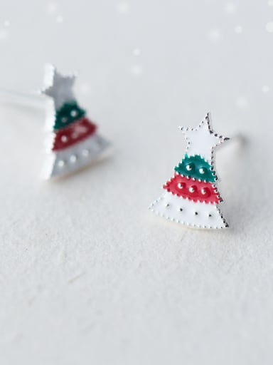 925 Sterling Silver With Platinum Plated Cute Christmas Tree Stud Earrings