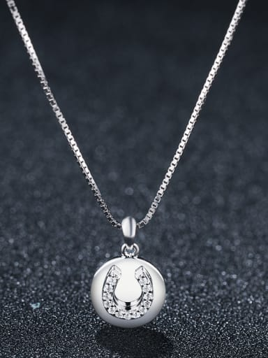 925 Sterling Silver With Platinum Plated Cute Round U shape Necklaces