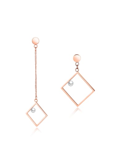 Simple Hollow Square Artificial Pearl Titanium Drop Earrings