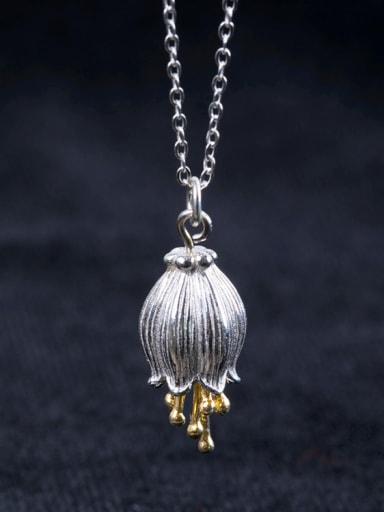 Elegant Bell Flower Pendant 925 Silver Necklace