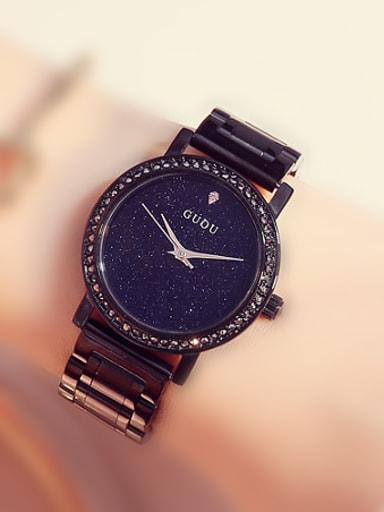 GUOU Brand Simple Black Numberless Watch