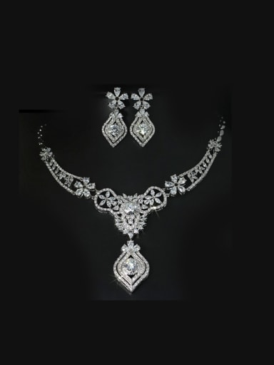 Retro Exaggerate Flower Two Pieces Jewelry Set