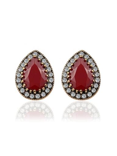 Ethnic style Water Drop shaped Resin stone Rhinestones Earrings