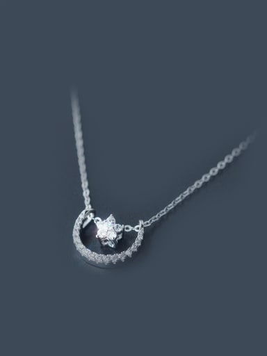 S925 Silver Fashionable Star And Moon Clavicle Short  Necklace