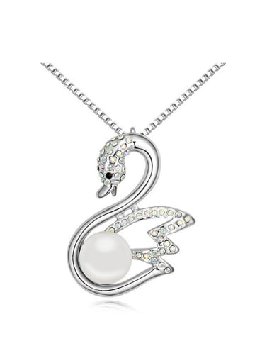 Exquisite Imitation Pearl Shiny White Crystals-studded Swan Alloy Necklace