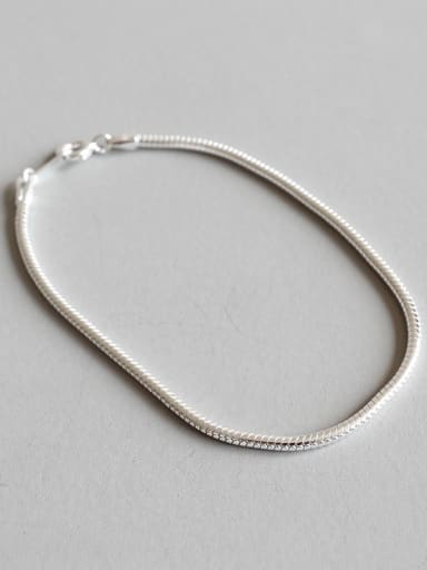 Pure silver personality and simple round snake chain Bracelet