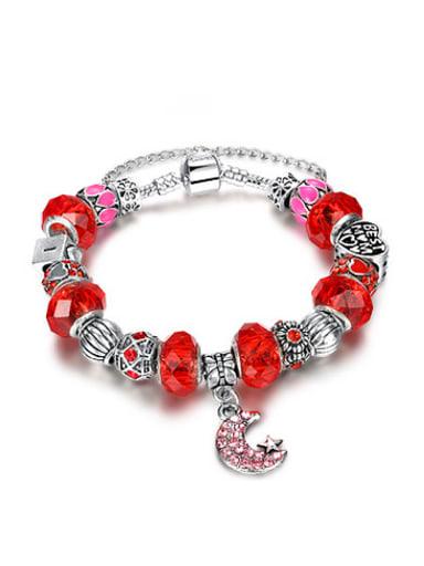 Fashionable Red Moon Shaped Glass Stone Bracelet