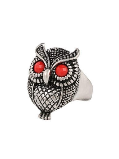 Personalized Owl Resin stones Alloy Ring