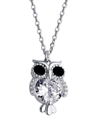 925 Sterling Silver With Cubic Zirconia Cute Animal owl Necklaces