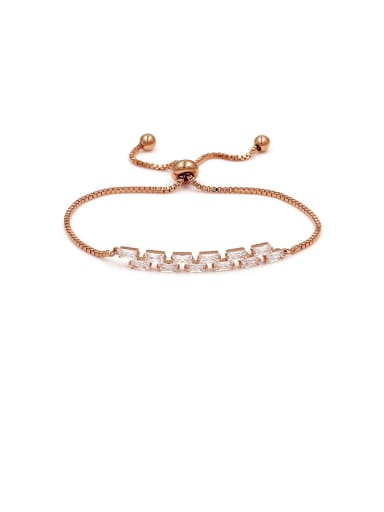 Copper With Cubic Zirconia  Simplistic Geometric  Adjustable Bracelets