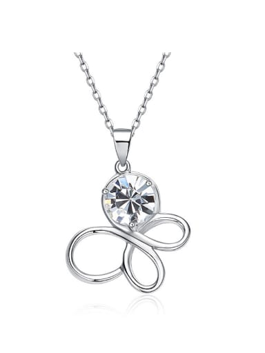 Simple Hollow Butterfly Swarovski Crystal Pendant 925 Silver Necklace