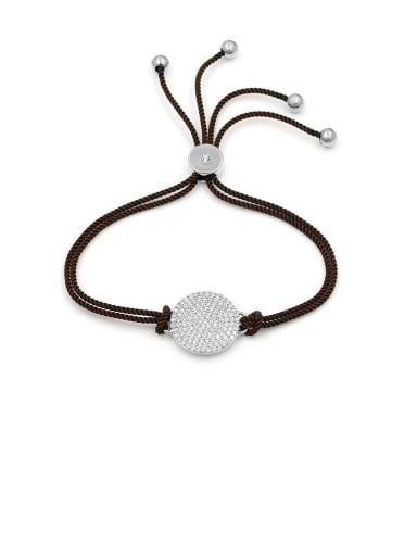 Copper With  Cubic Zirconia  Simplistic Round adjustable Bracelets