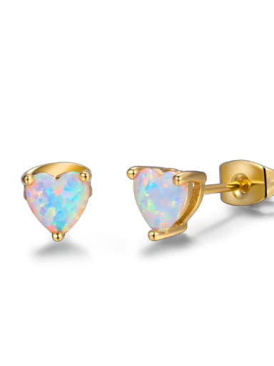 Small Heart Shaped Gold Plated Women Stud Earrings