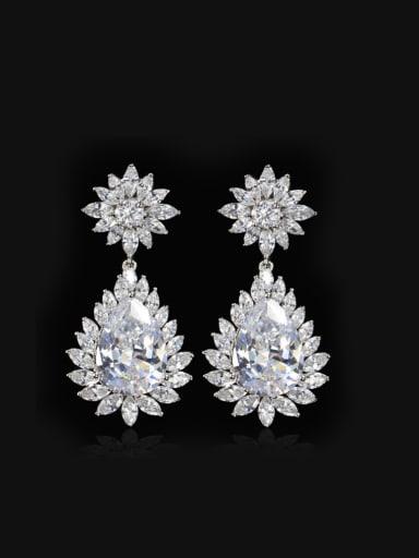 Western Style Zircons Plating Drop Cluster earring