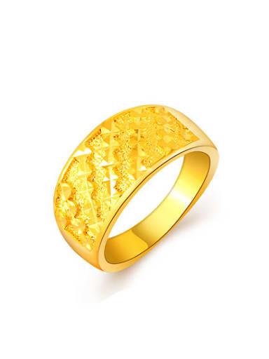 Men Fashion 24K Gold Plated Copper Geometric Ring