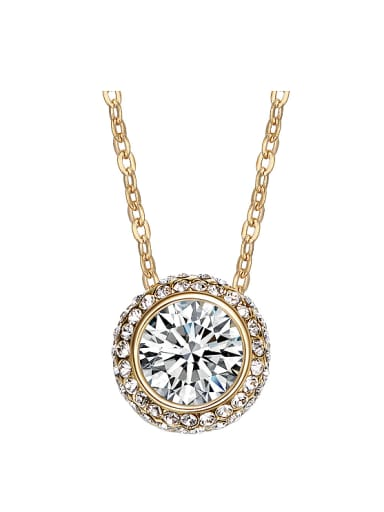 Fashion Swarovski Crystal Round Gold Plated Necklace