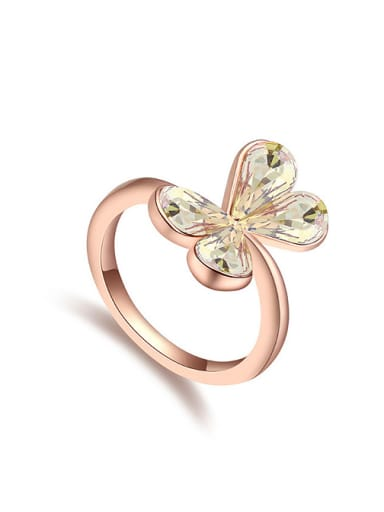 Simple Swarovski Crystals Butterfly Alloy Ring