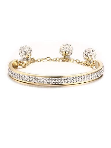 Temperament Gold Plated Geometric Shaped Rhinestone Bangle