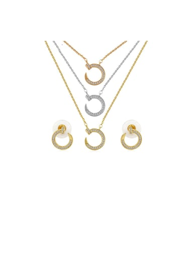 Copper With Cubic Zirconia Simplistic Hollow  Round Earrings And Necklaces 2 Piece Jewelry Set