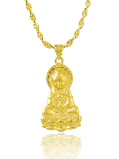 Personality 24K Gold Plated Chinese Element Copper Necklace