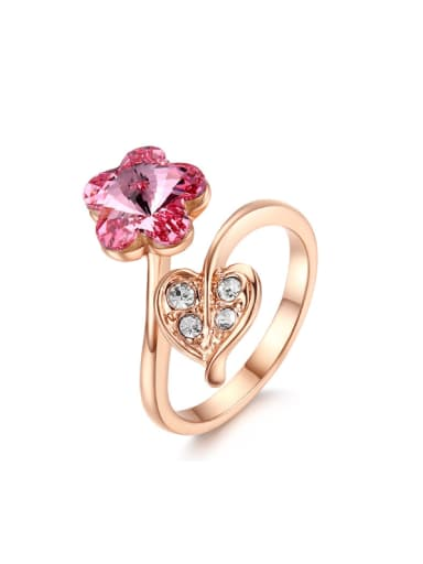 Hot Selling Flower -shape Austria Crystal Opening Ring