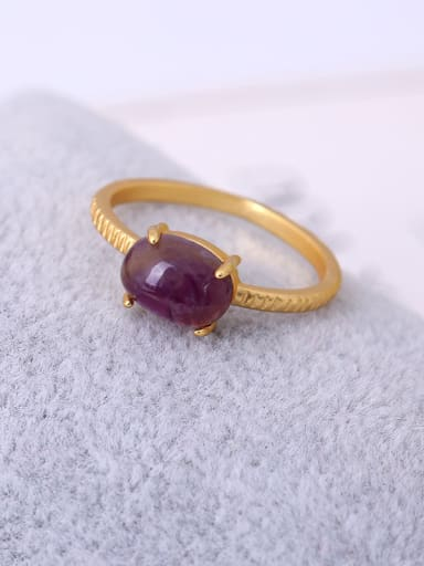 Purple Oval Shaped Natural Stone Ring