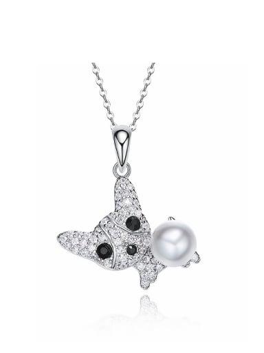 Fashion Little Dog Zirconias Artificial Pearl 925 Silver Pendant