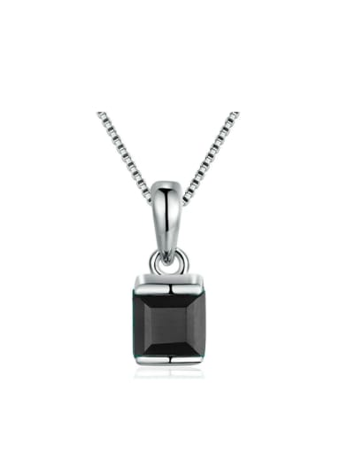 Natural Black Agate Platinum Plated Silver Pendant