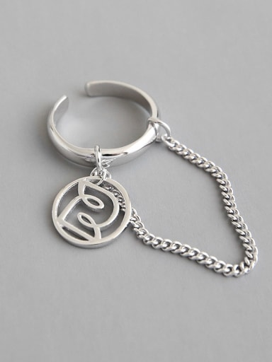 925 Sterling Silver With Platinum Plated Personality Round Chain Free Size  Rings