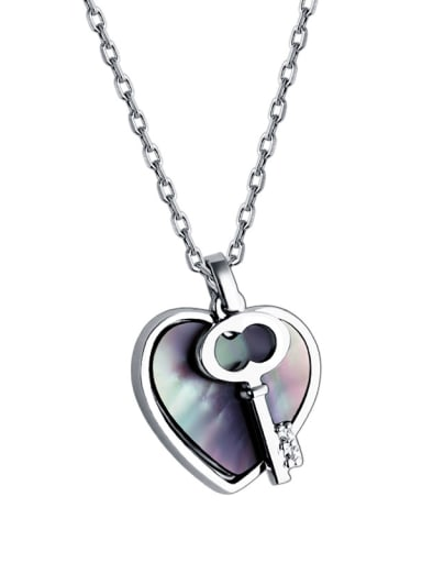 925 Sterling Silver With Shell Heart shaped key  Necklace