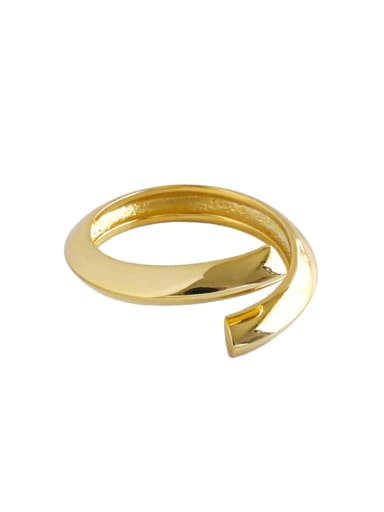 925 Sterling Silver With Gold Plated Simplistic Irregular Free Size  Rings