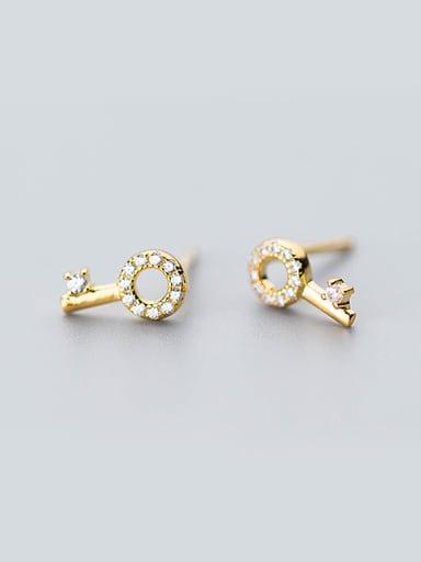 Personality Key Shaped Shimmering Zircons Stud Earrings