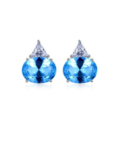 925 Sterling Silver With Platinum Plated Delicate Oval Stud Earrings