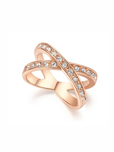 Simple Style Light Weight Cross Lines Ring