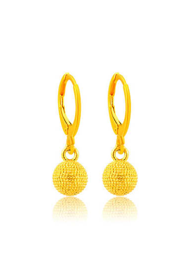 All-match Gold Plated Round Shaped Copper Drop Earrings