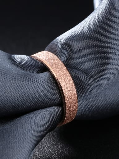 Fashion Polish Rose Gold Plated Titanium Ring