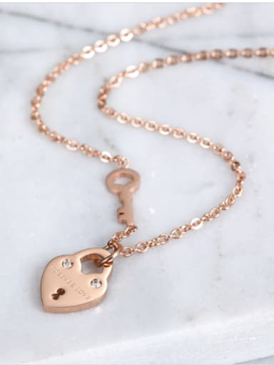Individual Titanium Heart And Key Shaped Zircon Necklace