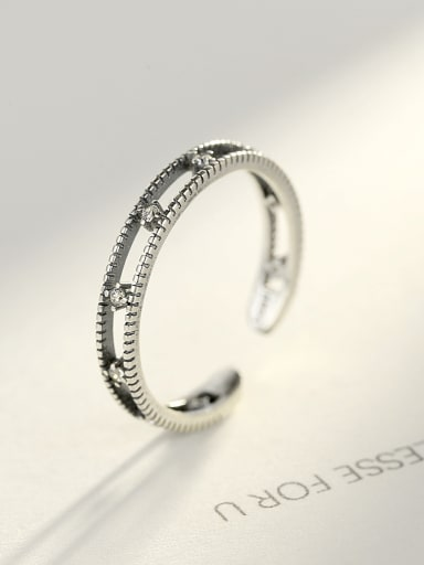 925 Sterling Silver With Simple  Vintage Free size Rings