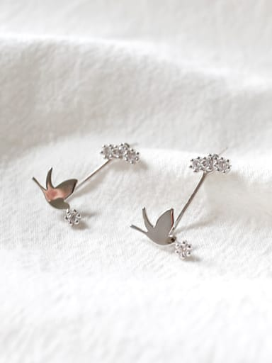 Fashion Little Dove Cubic Zircon Silver Stud Earrings