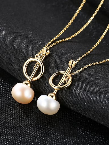 Pure silver 8-8.5mm natural freshwater pearl gold necklace